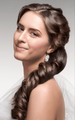 "alt=""Brunette model showcasing a beautiful hair style and updo in the hairstyle gallery"""
