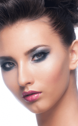 "alt=""Brunette model showcasing a make up style in the hairstyle gallery"""