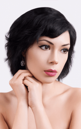 "alt=""Model with black hair showcasing a hair cut and hair style in the hairstyle gallery"""